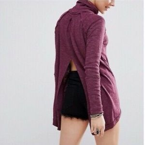 Free People split back turtleneck plum
